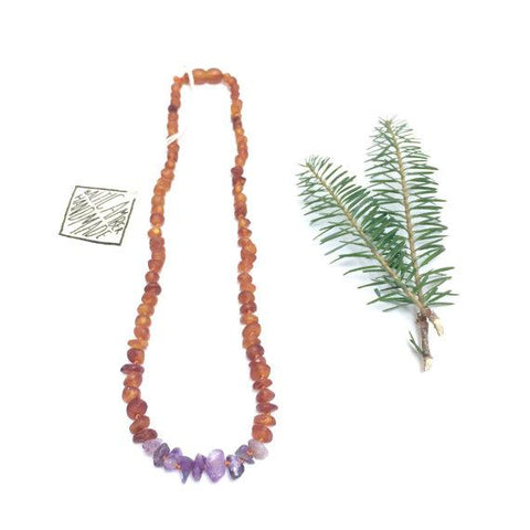 Canyon Leaf Baltic Amber + Amethyst Necklace (Adult's Sizes)