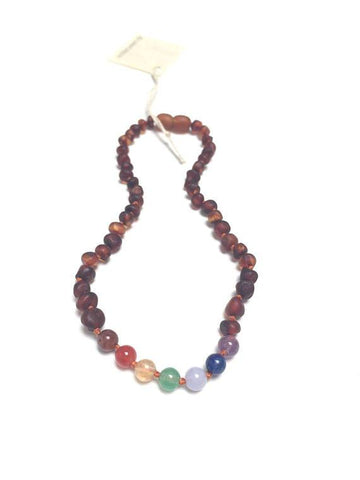 Canyon Leaf Baltic Amber + Chakra Crystals Necklace (Children's Sizes)