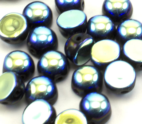 2 Hole 6mm Cabochon Crystal Jet Full AB - Beads Gone Wild