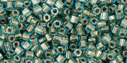 11/o Hex Seed Bead Gold Lined Aqua - Beads Gone Wild