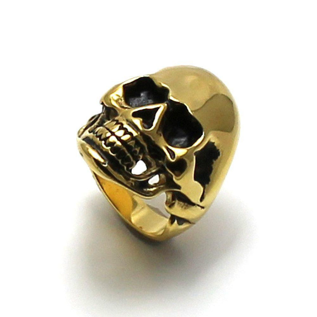 Large Steel Skull Ring With Gold Ion Plating