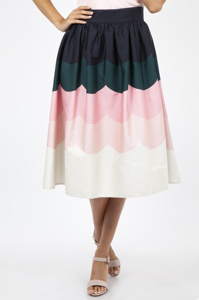 Sofia Scallop Border Print Flare Skirt