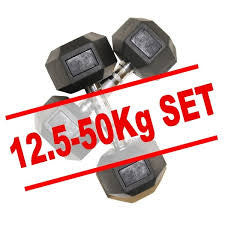 12.5 to 50kg Rubber Hex Dumbbell Set (16 pairs)