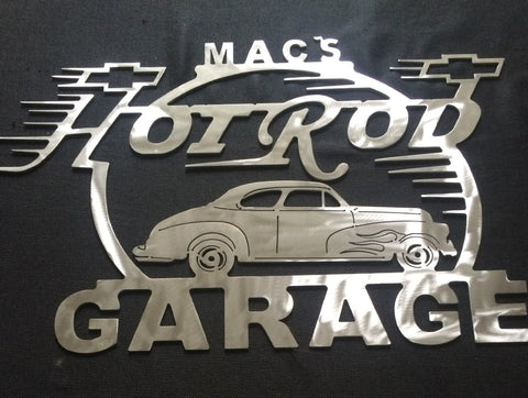 Hot Rod Metal Garage Sign With Any Name On Top