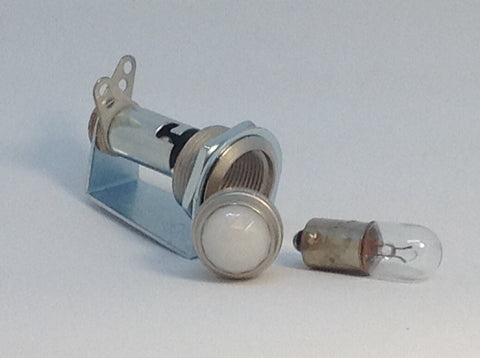 Tube Amp Pilot Light Assembly with White Translucent Jewel and Number 47 Bulb Made In USA