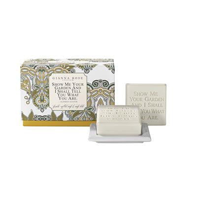 Gianna Rose Alfred Austin Quotable Gardener's Yellow Soap with Dish