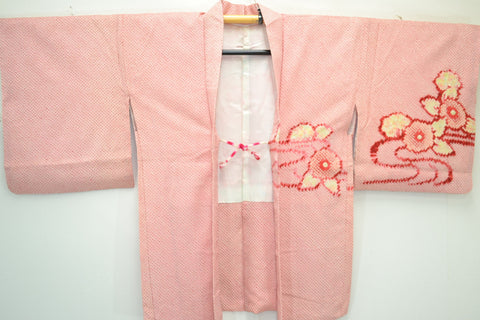 Fully Shibori Light Pink Tsunami Wave With Yellow Flowers