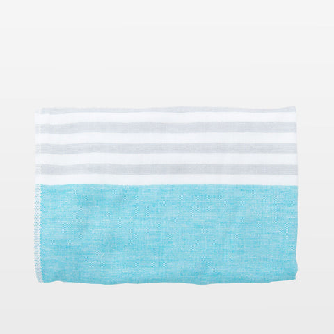 Grey + Aqua Square Towel