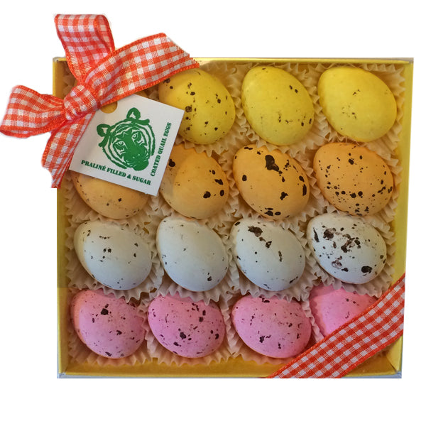 Paper Tiger Yellow Box of Praline Filled & Sugar Coated Quail Eggs