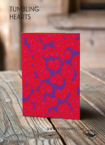 Tumbling Hearts Card