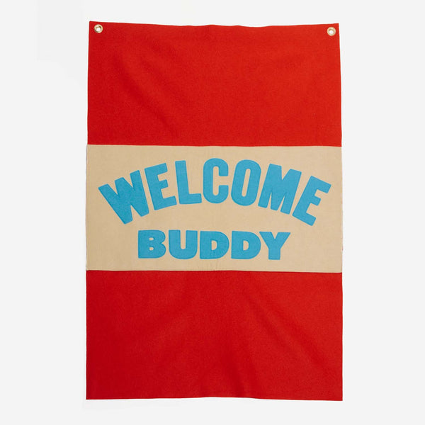 Oxford Pennant - Oxford Pennant Welcome Buddy Camp Flag - Habitat - Decor - Artwork Wall Hanging - Modern Anthology-
