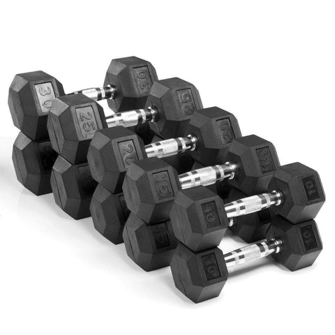 Dumbbell - Xmark Premium Quality, Rubber Coated Hex Dumbbells - 200lb. Set