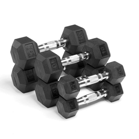 Dumbbell - Xmark Premium Quality, Rubber Coated Hex Dumbbells - 60 Lb. Set