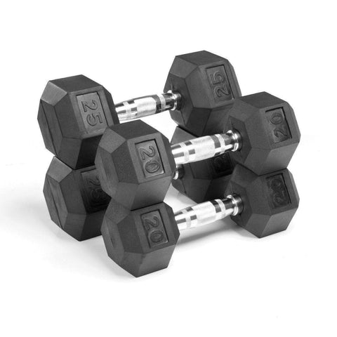 Dumbbell - Xmark PREMIUM QUALITY, RUBBER COATED HEX DUMBBELLS - 90 LB. SET XM-3301-2025-D