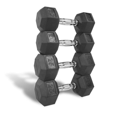Image of Dumbbell - Xmark PREMIUM QUALITY, RUBBER COATED HEX DUMBBELLS - 90 LB. SET XM-3301-2025-D