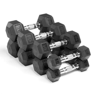 Dumbbell - Xmark Premium Quality, Rubber Hex Dumbbells - 100 Lb. Set