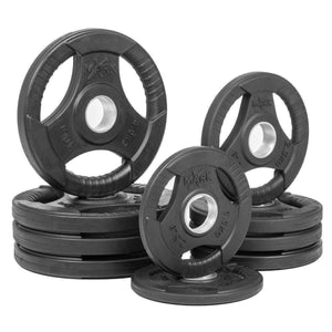Weight Plates - XMARK RUBBER COATED TRI-GRIP OLYMPIC PLATE WEIGHT PACKAGE XM-3377-BAL-45