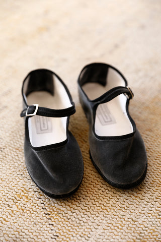 Velvet Mary Jane Slippers - Ash