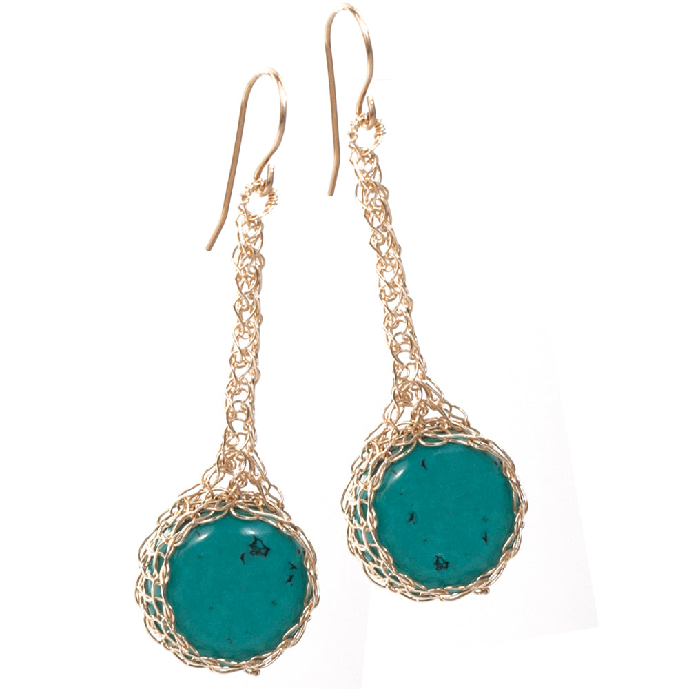 Turquoise Earrings, Turquoise Coins Nested in Crocheted Gold Wire - Yooladesign