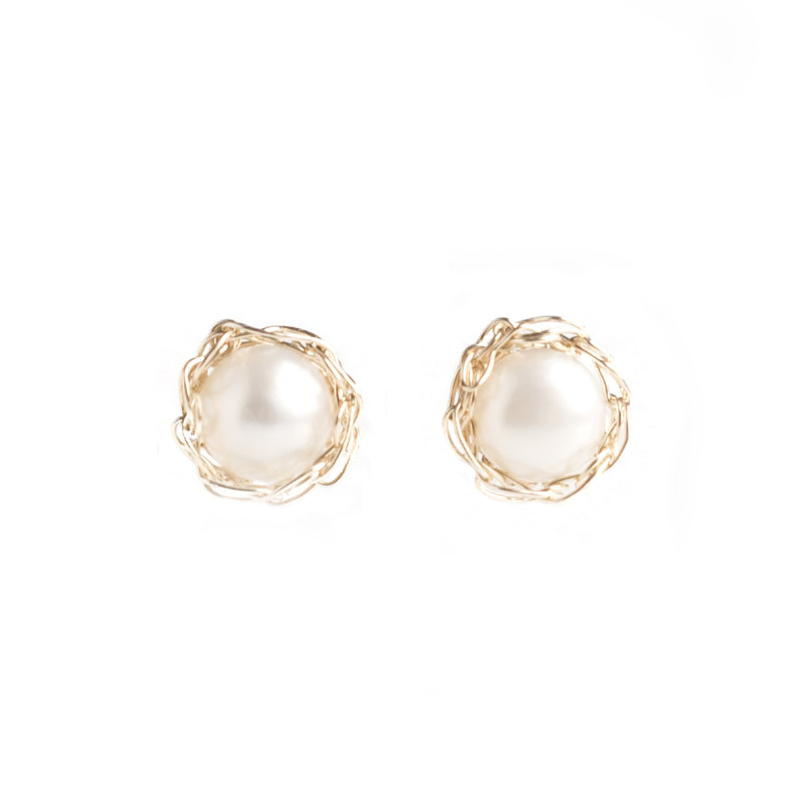 PURE, Small Pearl Stud Earrings , Gold Pearl post earrings - Yooladesign