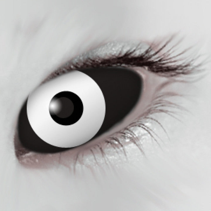 Black White Scleral Full Eye Coloured Contacts
