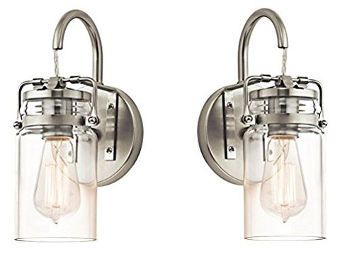 Kichler 45576NI Brinley 1-Light Wall Sconce and Clear Glass Shade, Brushed Nickel Finish (Brushed Nickel - 2 Pack)