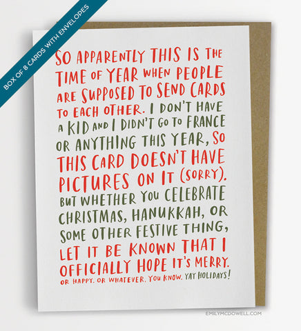 Awkward Holiday Card - Box of 8