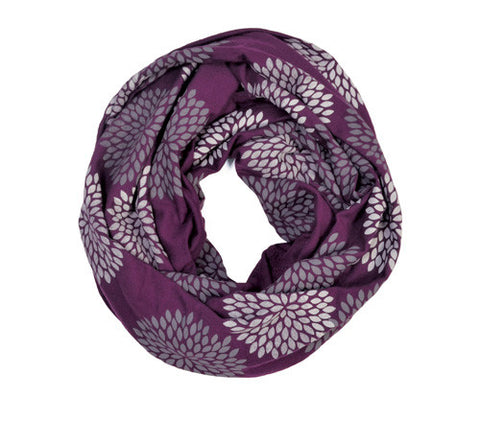 Plum Screen Printed Infinity Scarf