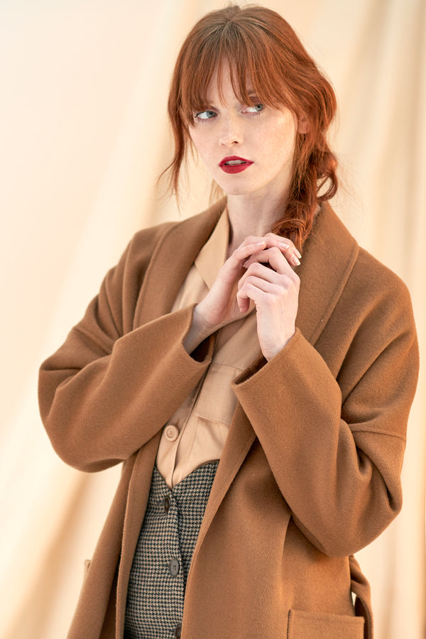 QUAINT ICONIC Dion Wool-Cashmere Robe Coat - Caramel