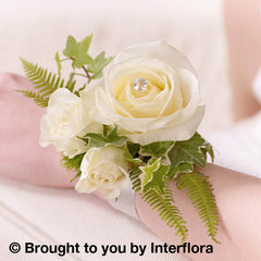 Ivory Rose and Fern Wrist Corsage