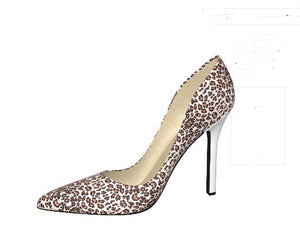 SNOW WHITE Leopard Hair w Snow White Leather Stiletto Heels