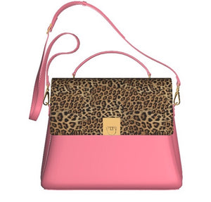 PINK FLAMINGO Leather Top Handle Bag with Leopard