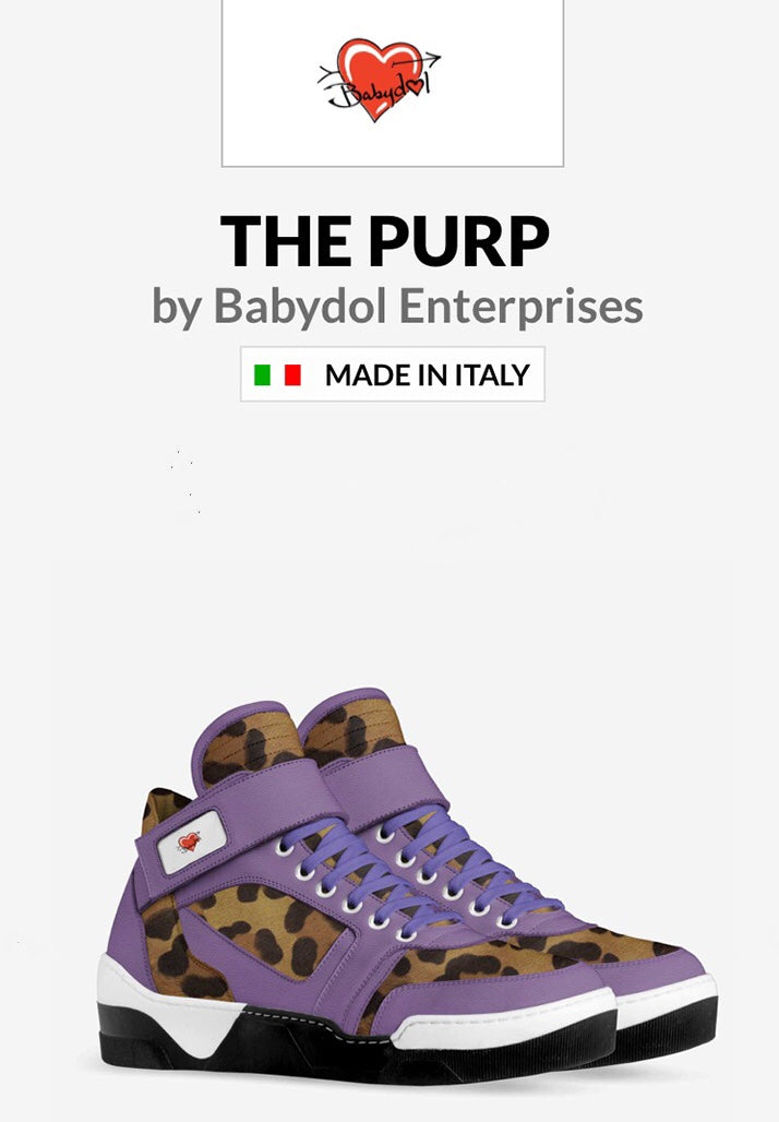 THE PURP Unisex  Purple Leather Leopard Sports Sneaker