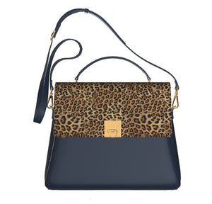 CHIC CHEETAH Navy Blue Leather Top Handle Leather Bag w Leopard.