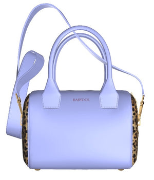 LA LA LILAC Leather Bowler Bag w Leopard