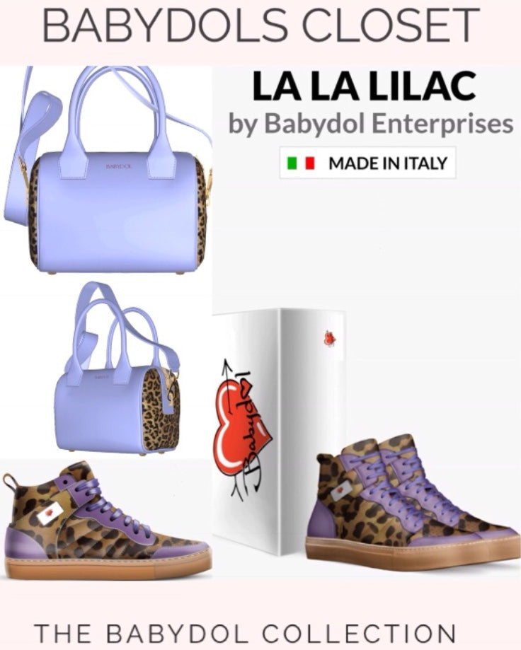 LA LA LILAC Leather Lace-Up Leopard Sport Shoe