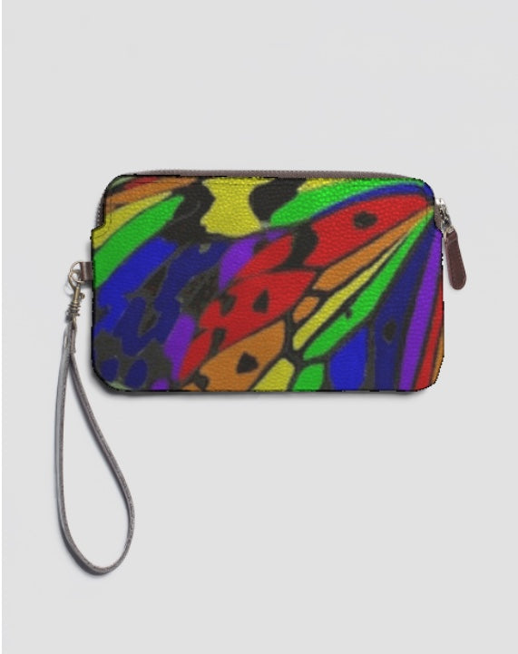 BUTTERFLY Leather Clutch with Wriststrap