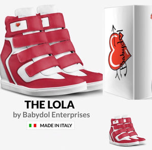 The LOLA Red Leather Hi-Top Platform Sport Sneaker