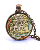 Bronx, New York Map Pendant Necklace - created from a 1927 map.-Small Pendant-Paper Towns Vintage
