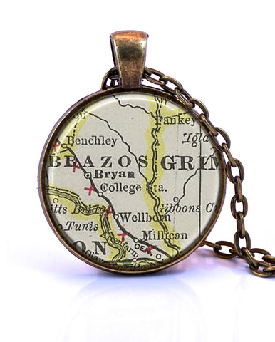 College Station, Texas Map Pendant Necklace - created from a 1901 map.-Small Pendant-Paper Towns Vintage