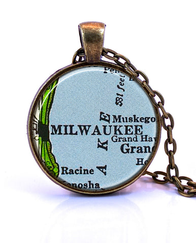 Milwaukee, Wisconsin Map Pendant Necklace - created from a 1958 map.-Small Pendant-Paper Towns Vintage