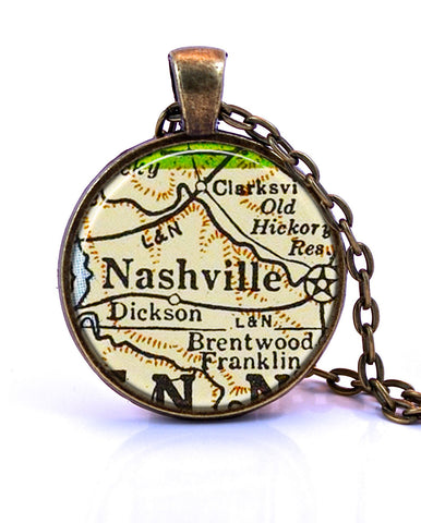 Nashville, Tennessee Map Pendant Necklace - created from a 1958 map.-Small Pendant-Paper Towns Vintage