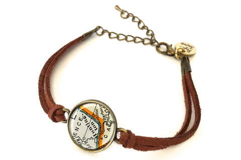 Huntington, West Virginia Map Bracelet - created from a 1937 Map.