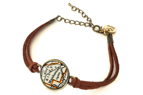 Manhattan, Kansas Map Bracelet - created from a 1937 Map.