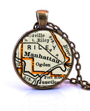 Manhattan, Kansas Map Pendant Necklace - created from a 1937 map.-Small Pendant-Paper Towns Vintage
