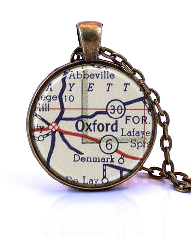 Oxford, Mississippi Map Pendant Necklace - created from a 1956 map.-Small Pendant-Paper Towns Vintage