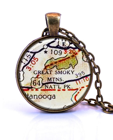Smoky Mountain National Park, Tennessee Map Pendant Necklace - created from a 1956 map.-Small Pendant-Paper Towns Vintage