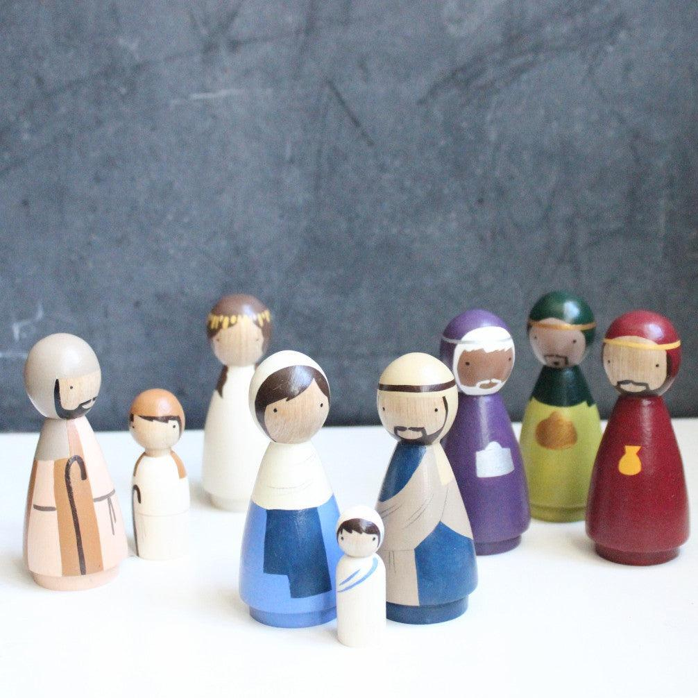 Wooden Peg Doll Nativity Set