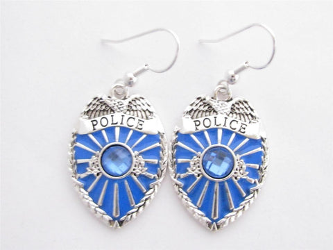 Police Policeman Officer Cop Badge Shield Blue Crystal Earrings Jewelry-Free Shipping