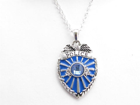 Policeman Badge Blue Crystal Silver Chain Necklace Jewelry Cop Police Patrolman-Free Shipping